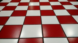 tile-red-white-floor-glossy-grout-square-surface
